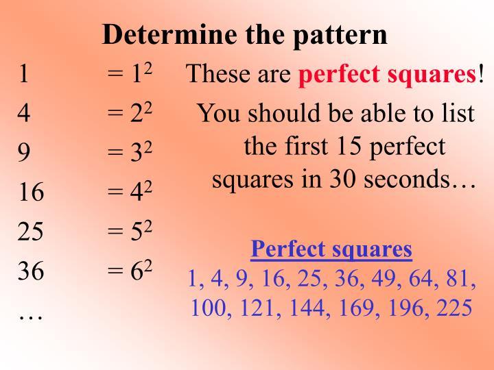 Determine the pattern