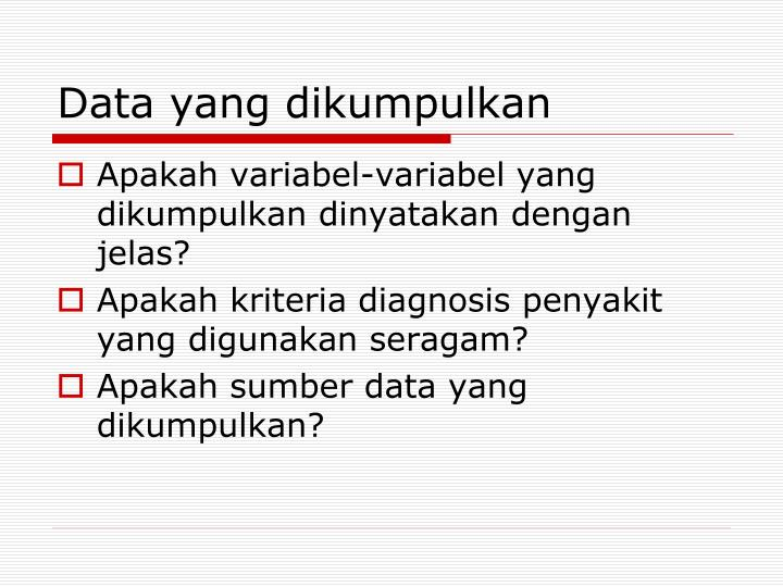 Data yang dikumpulkan