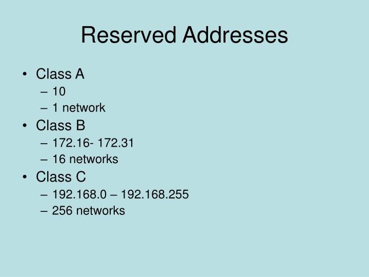 Reserved Addresses