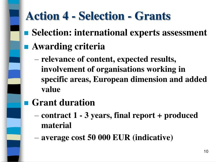 Action 4 - Selection - Grants