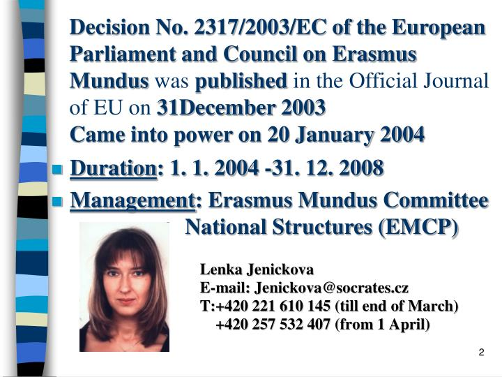 Decision No. 2317/2003/EC of the European Parliament and Council on Erasmus Mundus