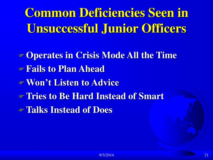 Common Deficiencies Seen in Unsuccessful Junior Officers
