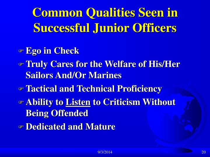 Common Qualities Seen in Successful Junior Officers
