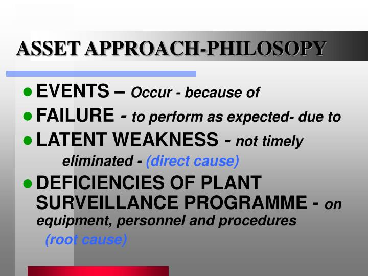 ASSET APPROACH-PHILOSOPY