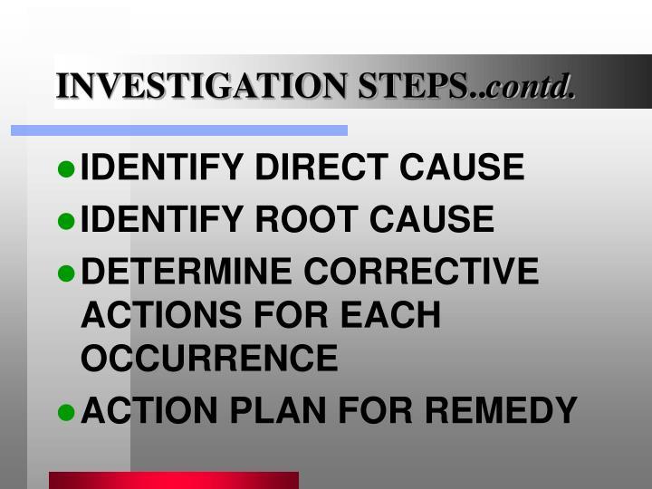 INVESTIGATION STEPS..