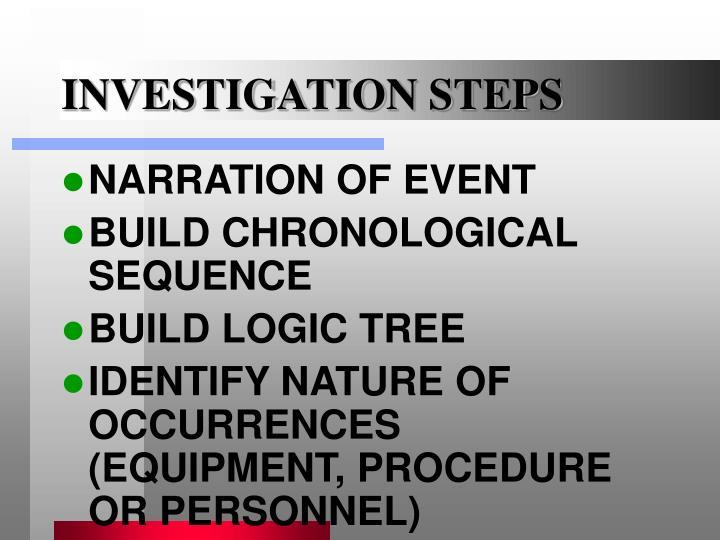 INVESTIGATION STEPS