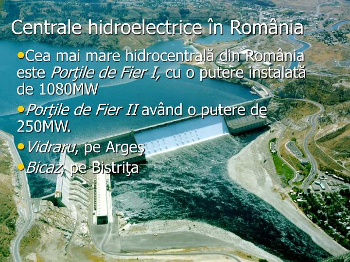 Centrale hidroelectrice în România