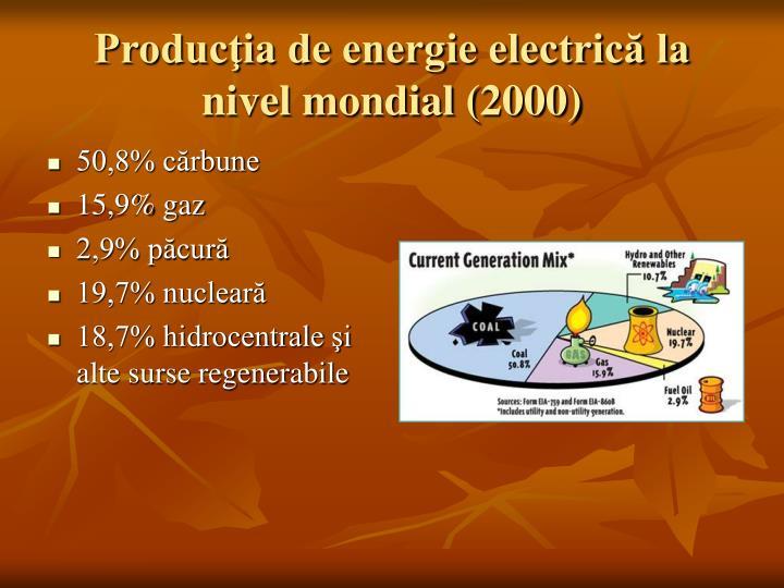 Producţia de energie electrică la nivel mondial (2000)