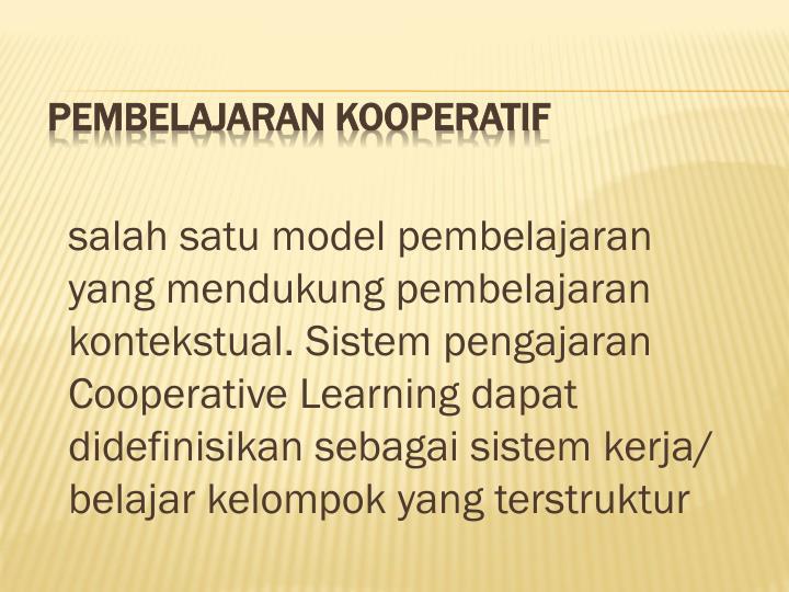salah satu model pembelajaran yang mendukung pembelajaran kontekstual. Sistem pengajaran Cooperative Learning dapat didefinisikan sebagai sistem kerja/ belajar kelompok yang terstruktur