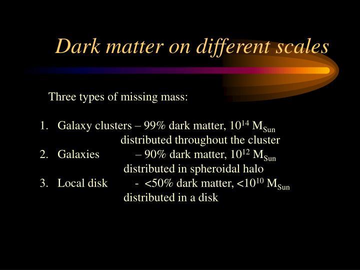 Dark matter on different scales