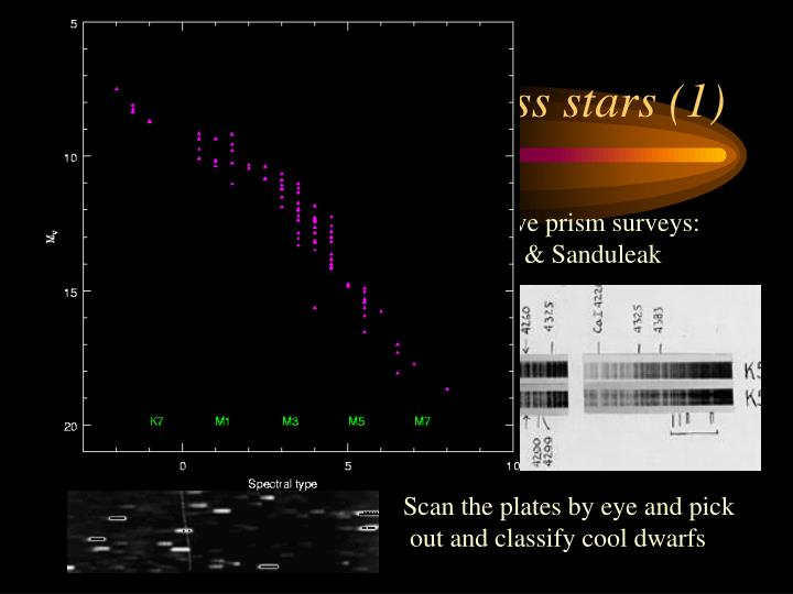Finding low mass stars (1)