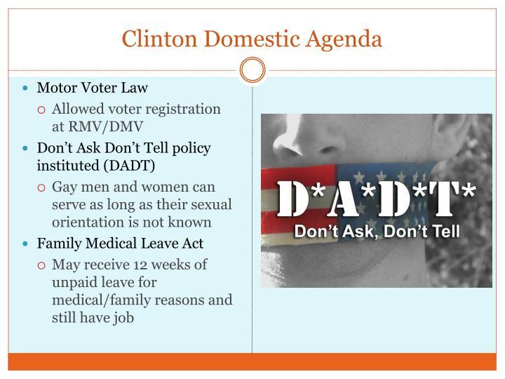 Clinton Domestic Agenda