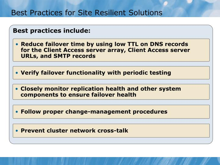 Best Practices for Site Resilient Solutions