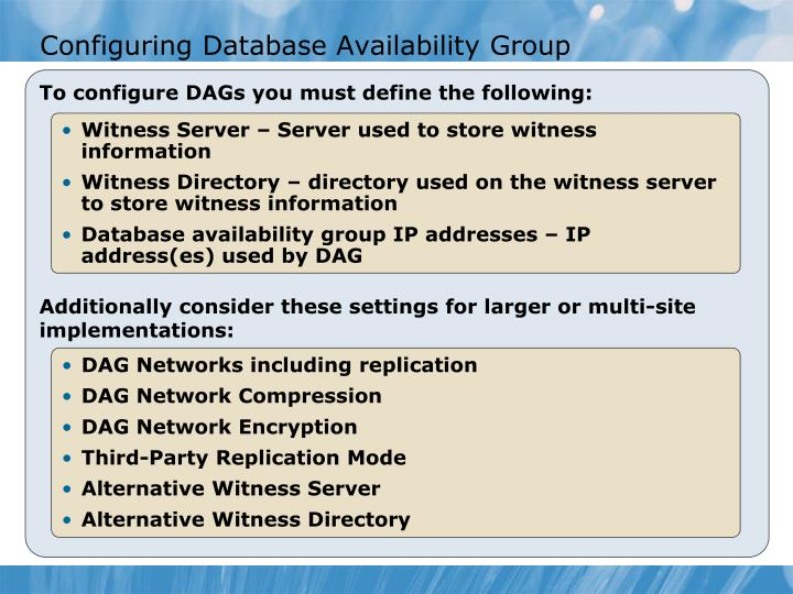 Configuring Database Availability Group