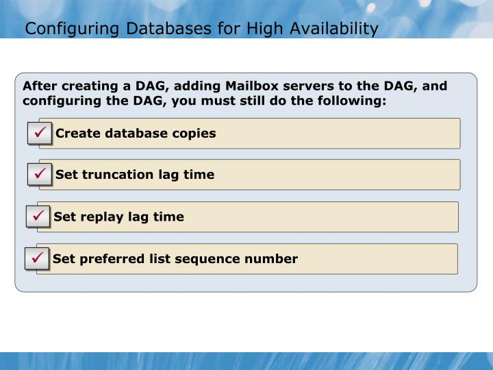 Configuring Databases for High Availability