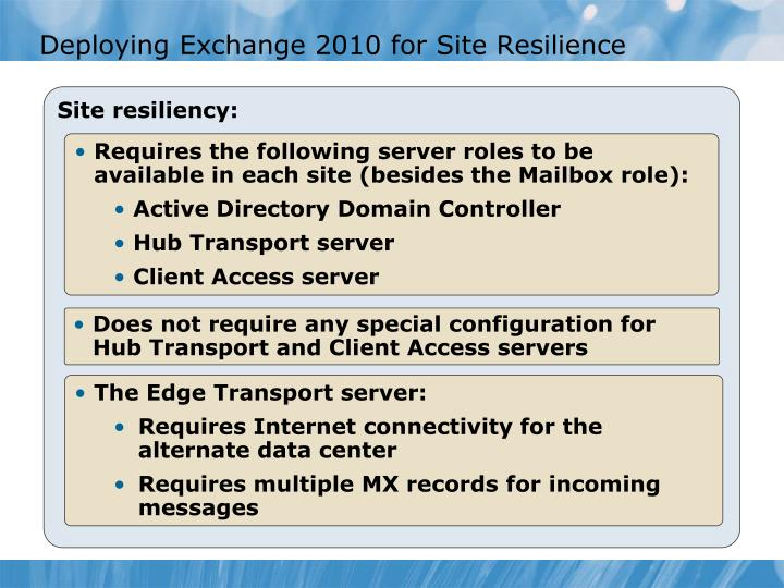 Deploying Exchange 2010 for Site Resilience