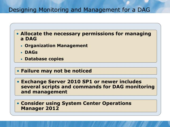 Designing Monitoring and Management for a DAG