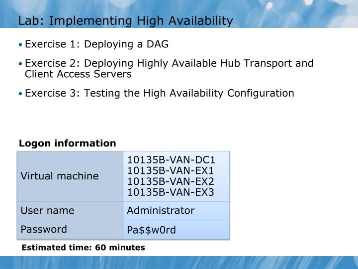 Lab: Implementing High Availability