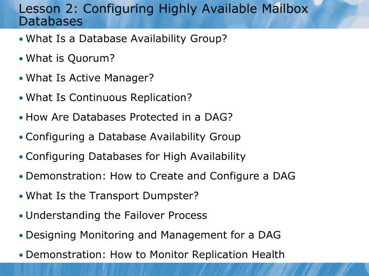 Lesson 2: Configuring Highly Available Mailbox Databases