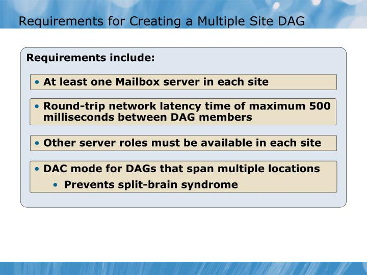 Requirements for Creating a Multiple Site DAG