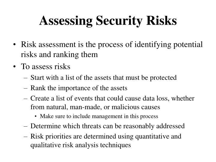 Assessing Security Risks
