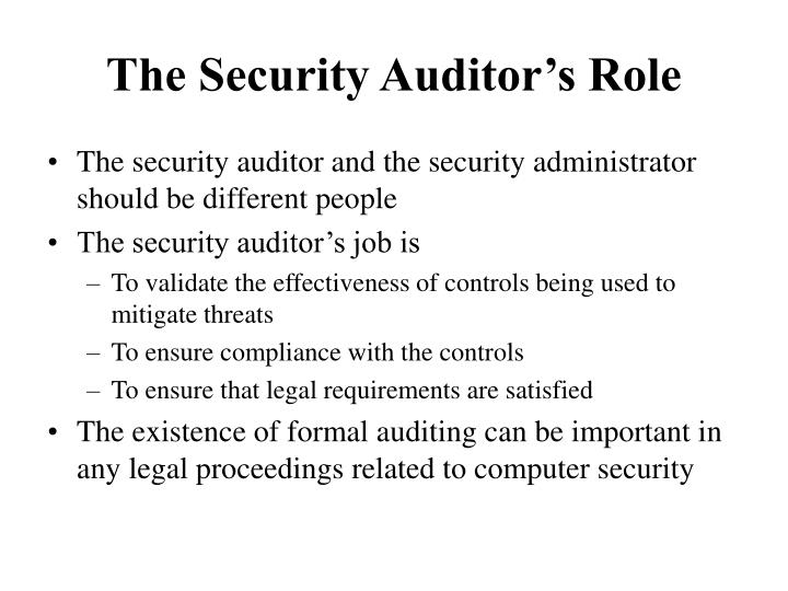 The Security Auditor's Role
