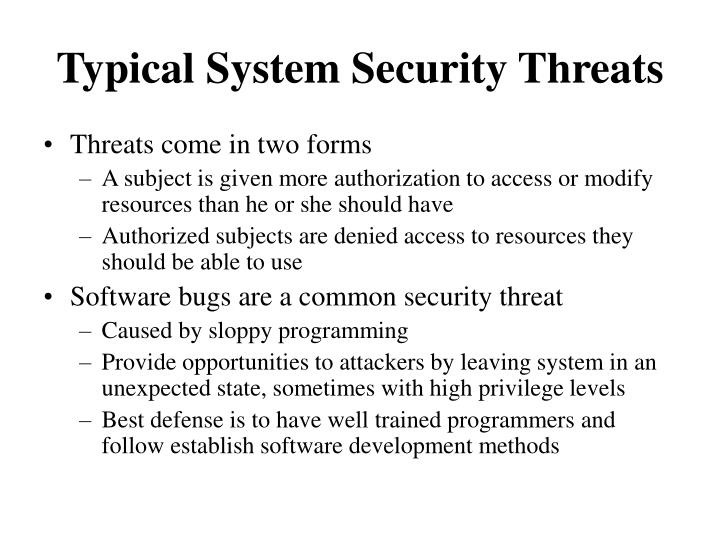 Typical System Security Threats