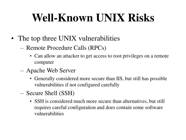 Well-Known UNIX Risks