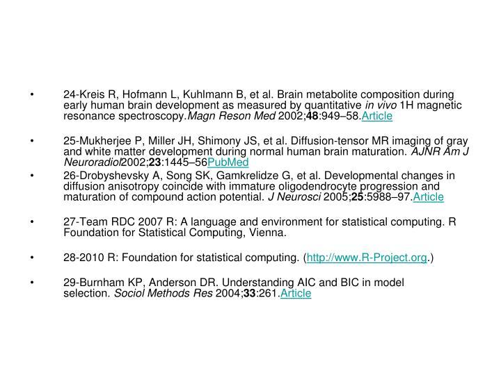 24-Kreis R,Hofmann L,Kuhlmann B,et al.Brain metabolite composition during early human brain development as measured by quantitative