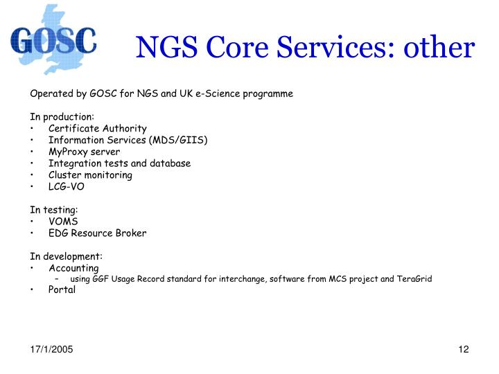 NGS Core Services: other