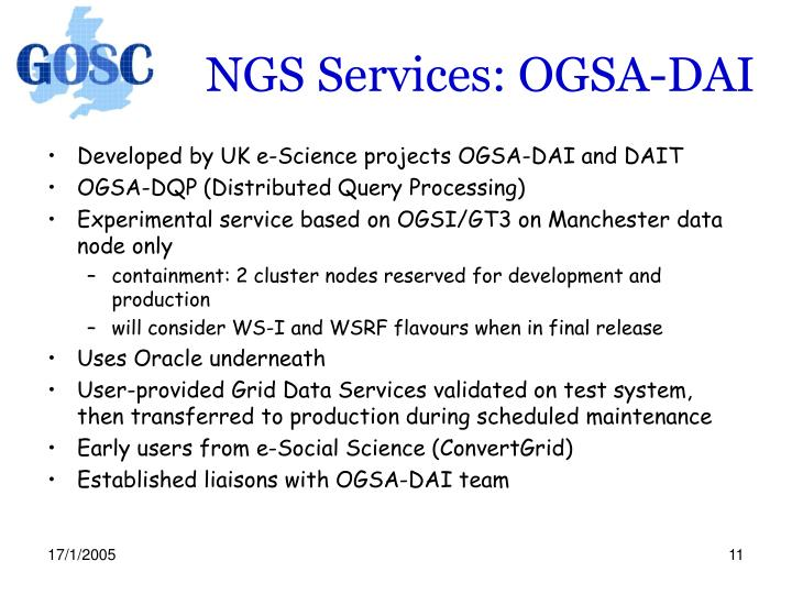 NGS Services: OGSA-DAI