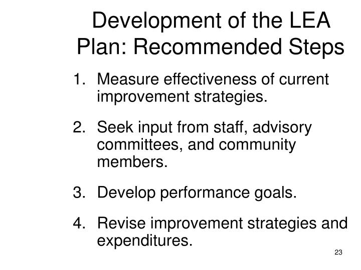 Development of the LEA Plan: Recommended Steps