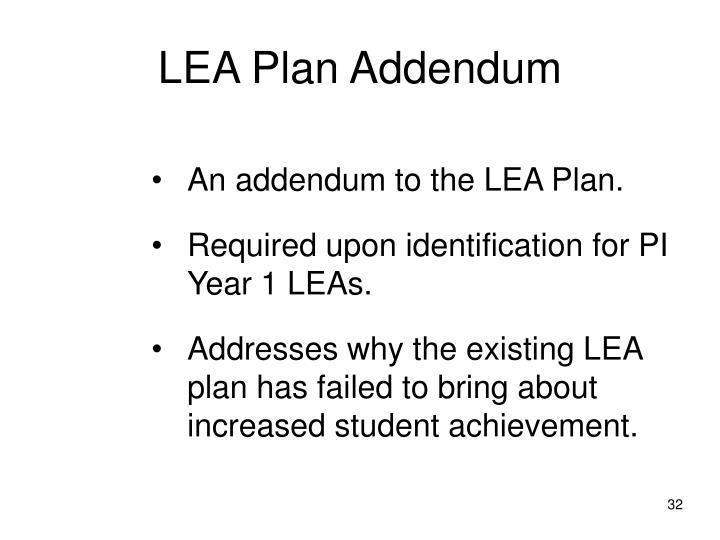LEA Plan Addendum