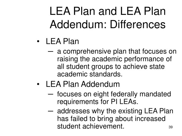 LEA Plan and LEA Plan Addendum: Differences