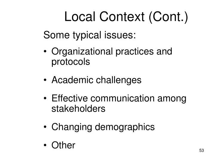 Local Context (Cont.)