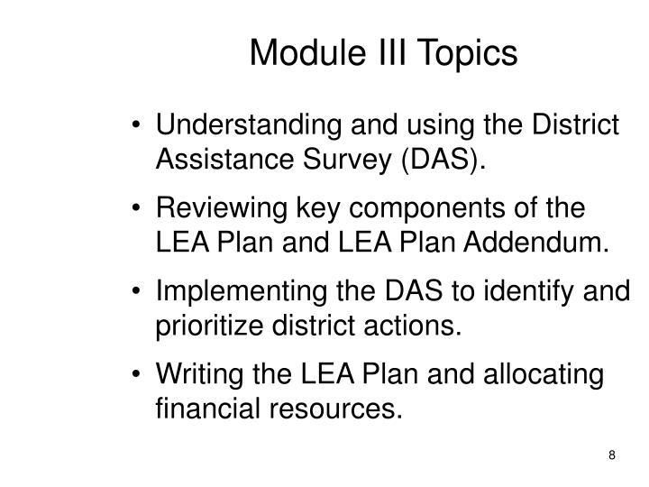 Module III Topics