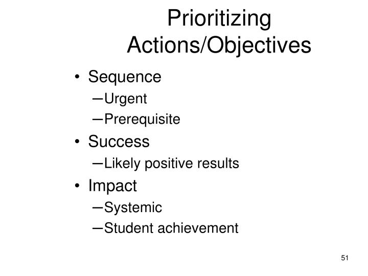 Prioritizing Actions/Objectives