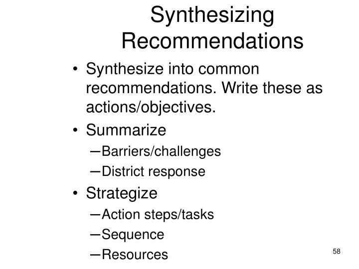 Synthesizing Recommendations