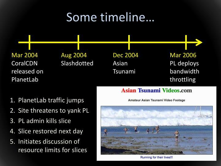 Some timeline…