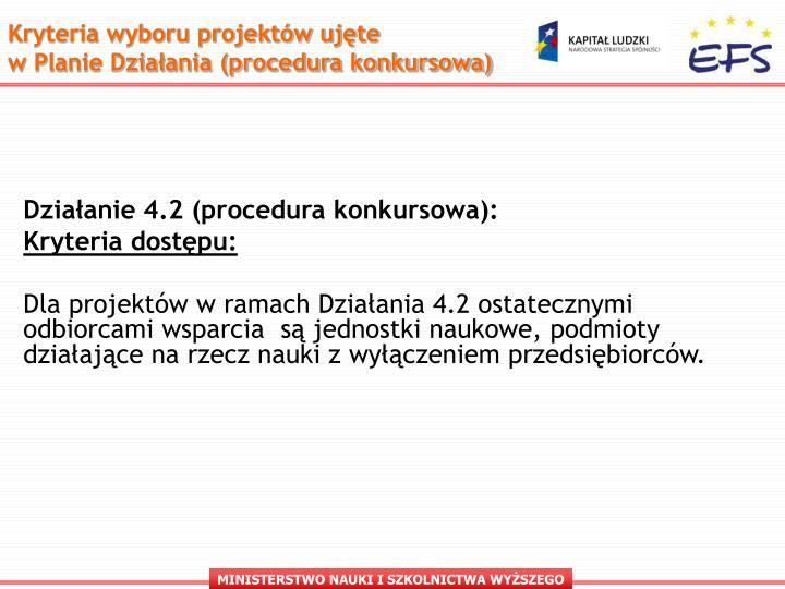 Kryteria wyboru projektów ujęte