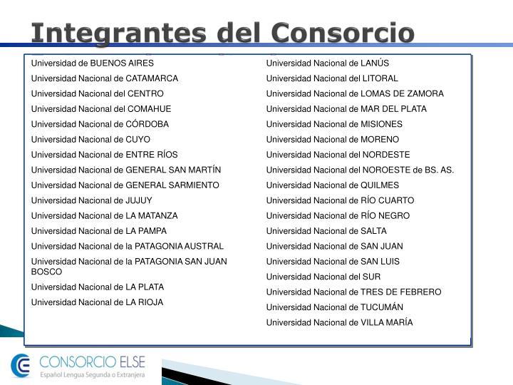 Integrantes del Consorcio Interuniversitario