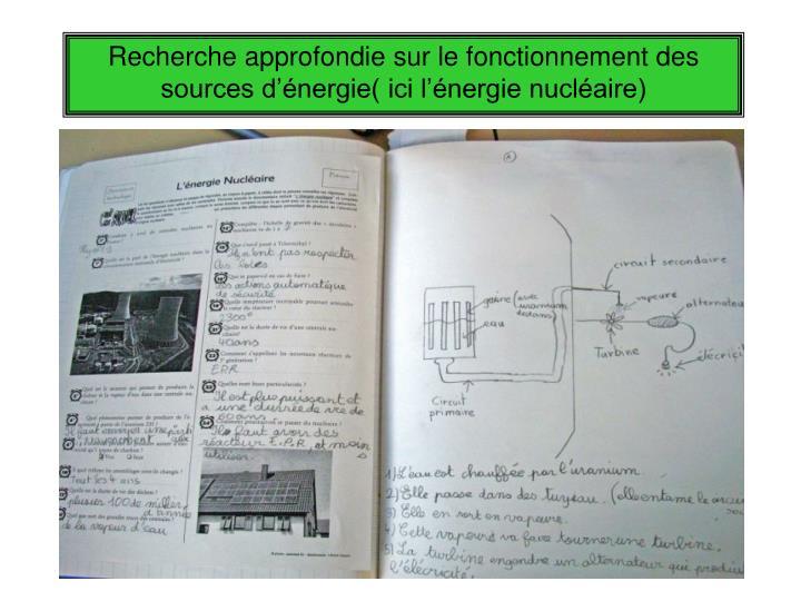 Recherche approfondie sur le fonctionnement des sources d'énergie( ici l'énergie nucléaire)