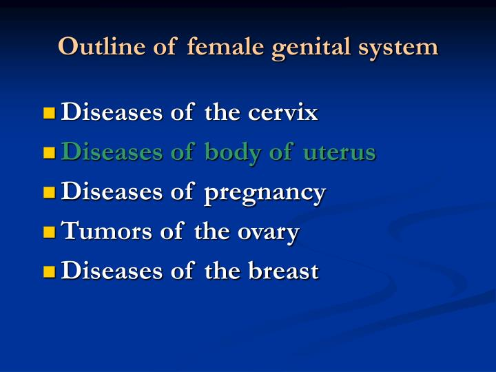 Outline of female genital system