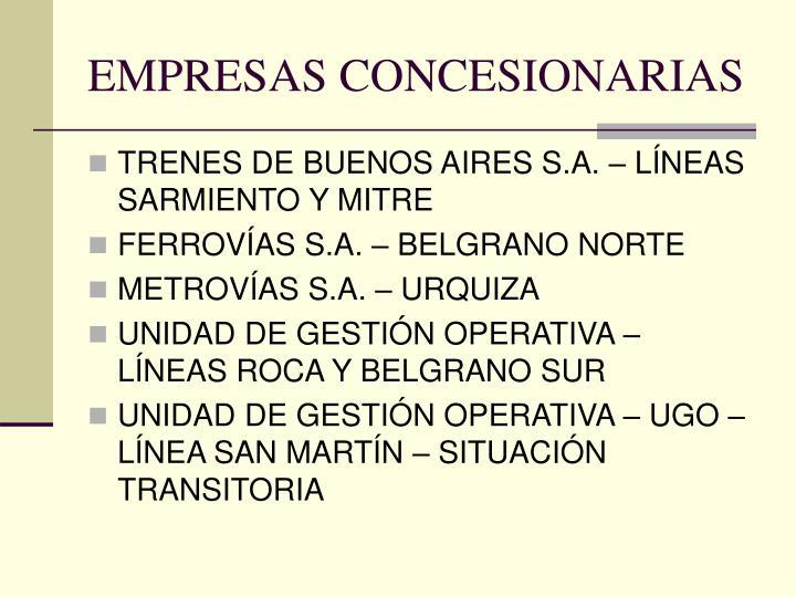 EMPRESAS CONCESIONARIAS