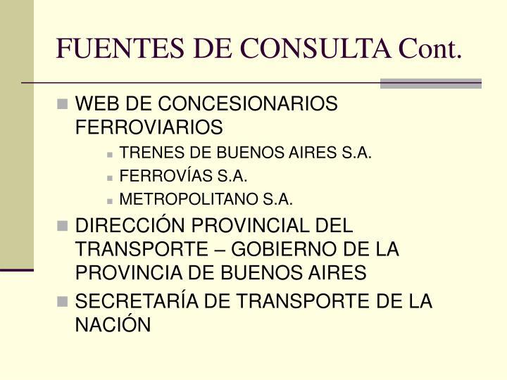 FUENTES DE CONSULTA Cont.