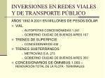 inversiones en redes viales y de transporte p blico