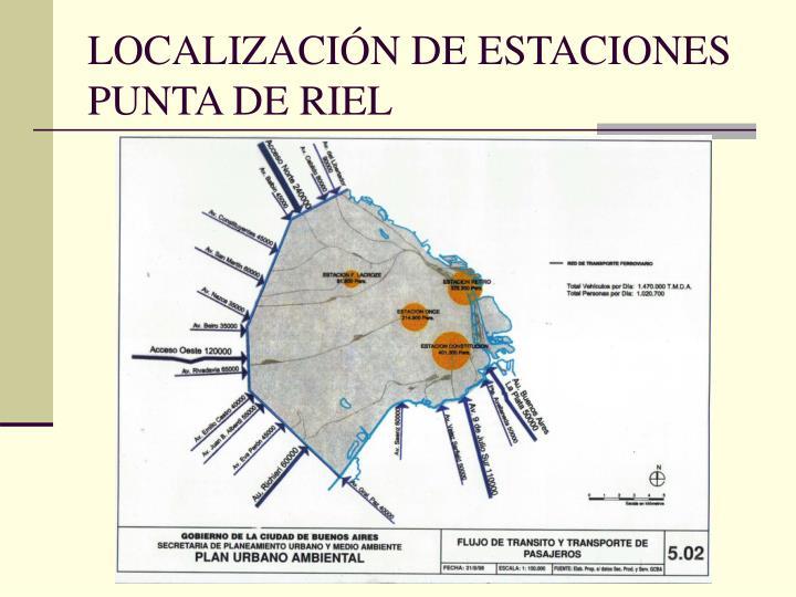 LOCALIZACIÓN DE ESTACIONES PUNTA DE RIEL