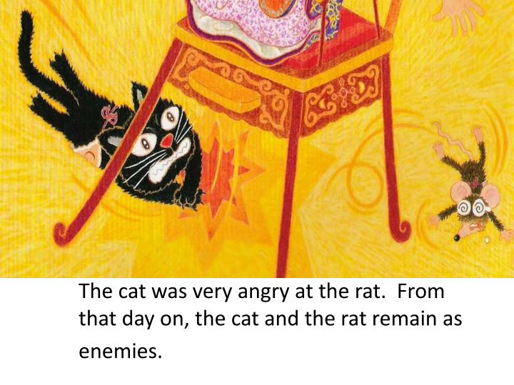 The cat was very angry at the rat.  From that day on, the cat and the rat remain as enemies.