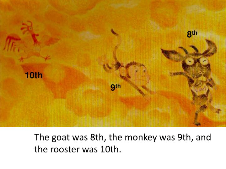 The goat was 8th, the monkey was 9th, and the rooster was 10th.