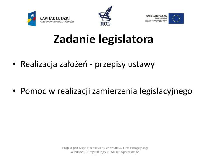 Zadanie legislatora